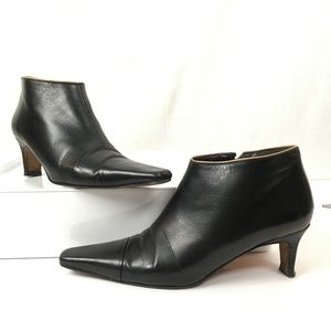 Kate Spade Black Leather Booties Contr/Trim 5.5 M